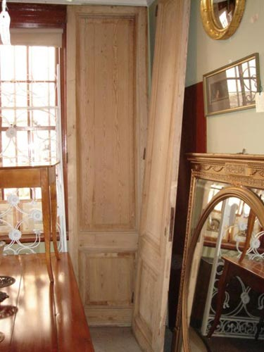 Pair large stripped pine Chateau doors