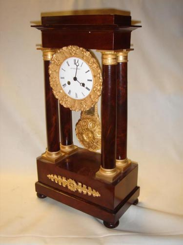 French Empire Mahogany Portico clock