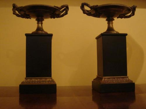 Pair French Bronze empire urns cassolett