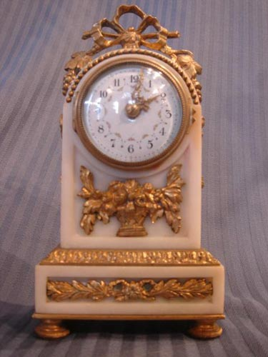 French Marble Ormolu Louis XVI clock