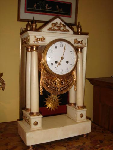 White Marble French louis XVI clock