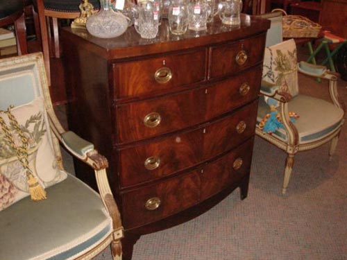 Bow front mahogany chest of drawers