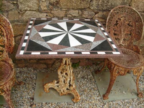 Marble top bistro table iron base