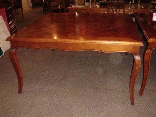 French Parquetry top square dining table