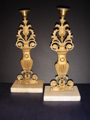 Bronze and Marble Louis XVI candlesticks