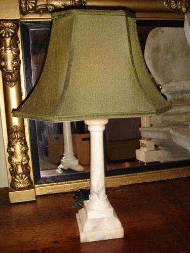 Pair white marble columnar table lamps