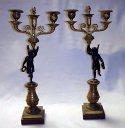 Rare French Empire pair of candelabra