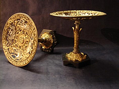 Rare pair neoclassical gilt bronze tazza