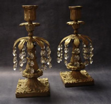 Pair Regency gilt bronze candle lustres