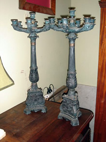 Heavy bronze pair of candelabrae