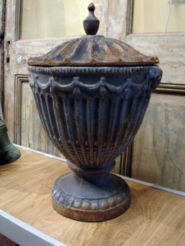 Large elegant cast iron Chestnut urn