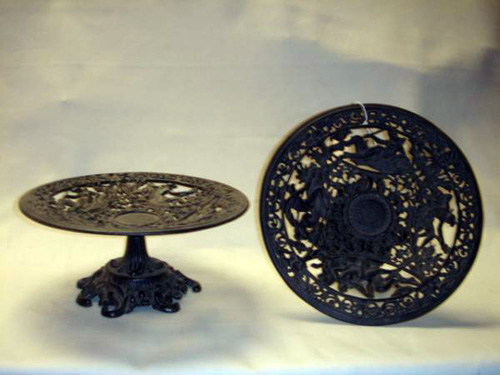 Pair antique cast iron Berlin tazza
