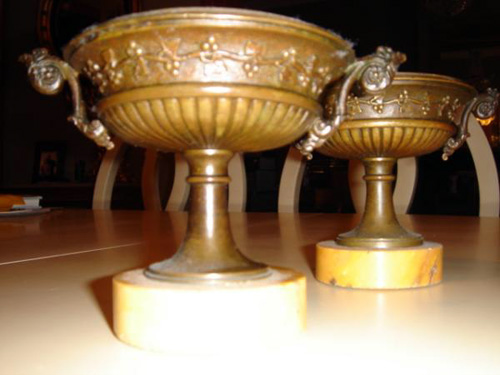 Pair bronze and Sienna tazza cassolettes