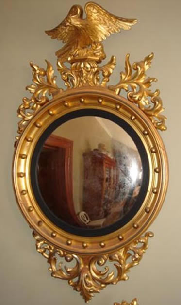 Large Regency giltwood convex mirror