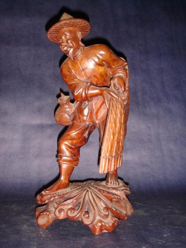 Chinese carved rosewood fisherman