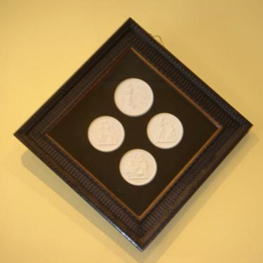 Framed set 4 Biedermeier Bisque plaques
