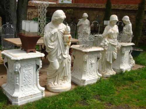 Antique garden statuary cast iron statues sculptures life size four seasons - Wrought iron garden sculptures ...